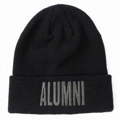 Tha Alumni Clothing アルムナイ ロゴ ニットキャップ ブラック×チャコールグレーロゴ