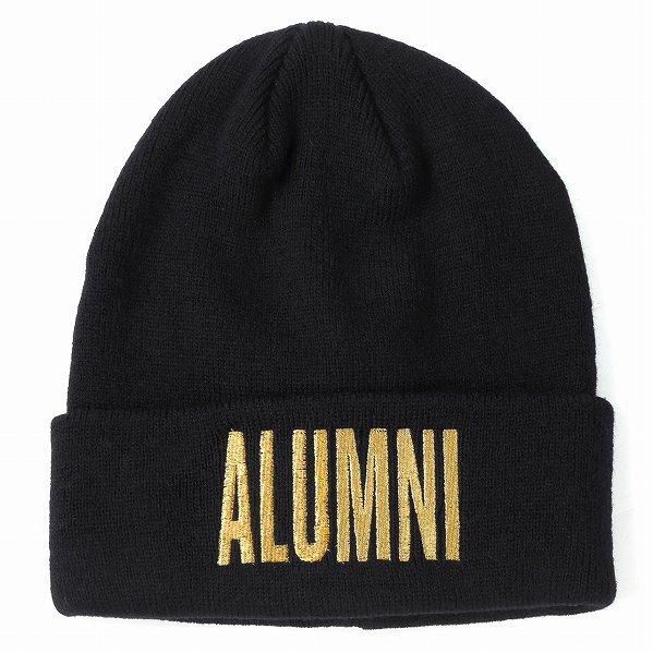 "Tha Alumni Clothing アルムナイ ロゴ ニットキャップ ブラック×ゴールドロゴ ""SQUAD BEANIE"""