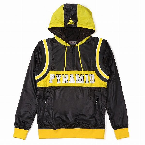 "Black Pyramid ブラックピラミッド ロゴ ハーフジップ フードジャケット ブラック ""Pyramid Varsity Hoody&quo…"