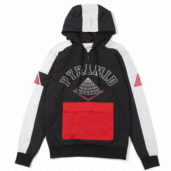"Black Pyramid ブラックピラミッド ロゴ ハーフジップ フードジャケット ブラック ""Pyramid Arch Hoody&quo…"