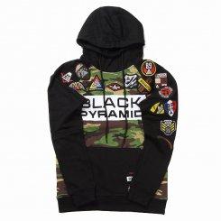 Black Pyramid ブラックピラミッド ロゴ プルオーバー ラグラン スウェットパーカー ブラック×カモ×ホワイト