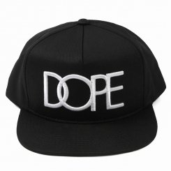 Dope ドープ ロゴ スナップバックキャップ ブラック フラットバイザー