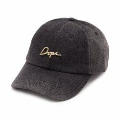 Dope ドープ ロゴ 6パネル ストラップバックキャップ ブラックデニム
