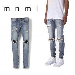 mnml ミニマル スリムフィット ダメージジーンズ 裾ジップ ウォッシュデニム ブルー
