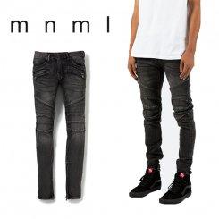 mnml ミニマル スリムフィット バイカージーンズ 裾ジップ ウォッシュデニム ブラック