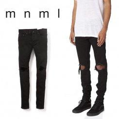 mnml ミニマル スリムフィット ダメージジーンズ 裾ジップ ウォッシュデニム ブラック