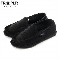 Trooper America トゥルーパーアメリカ スリッポン ルームシューズ ブラック コーデュロイ House Slippers  - Mono