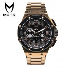 MSTR WATCHES マイスターウォッチ メンズ 腕時計 ローズゴールド×ブラック ステンレススティールバンド