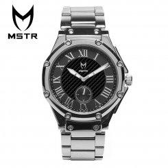 MSTR WATCHES マイスターウォッチ メンズ 腕時計 シルバー×ブラック ステンレススティールバンド