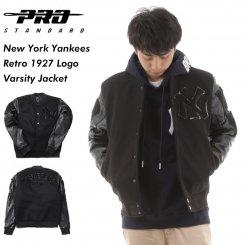 Pro Standard プロスタンダード ヤンキース ウール×レザー スタジアムジャケット ブラック New York Yankees Retro 1927 Logo Varsity Jacket