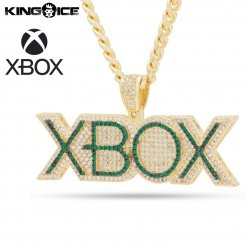 <img class='new_mark_img1' src='https://img.shop-pro.jp/img/new/icons15.gif' style='border:none;display:inline;margin:0px;padding:0px;width:auto;' />Xbox×King Ice キングアイス エックスボックス ロゴ ネックレス ゴールド Emerald Xbox Necklace