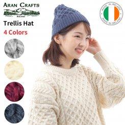 アランクラフト Aran Crafts トレリス柄 メリノウール ニットキャップ アイルランド製 Trellis Hat