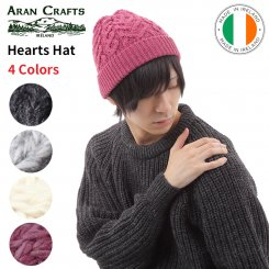<img class='new_mark_img1' src='https://img.shop-pro.jp/img/new/icons15.gif' style='border:none;display:inline;margin:0px;padding:0px;width:auto;' />アランクラフト Aran Crafts ハート柄 メリノウール ニットキャップ アイルランド製 Hearts Hat