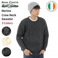 アランクラフト Aran Crafts クルーネックニット セーター 100%メリノウール アイルランド製 Merino Crew Neck Sweater