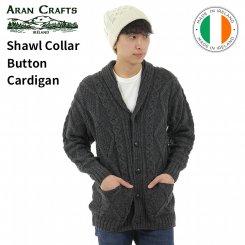 アランクラフト Aran Crafts ショールカラー ボタンカーディガン 100%メリノウール アイルランド製 Shawl Collar Button Cardigan