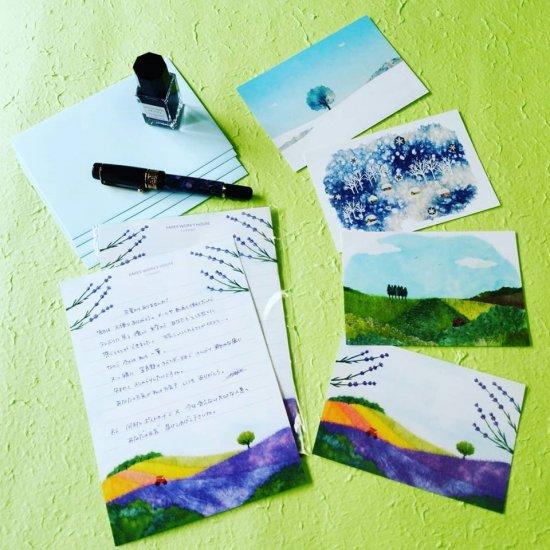 レターセット( 便箋8枚 封筒4枚)&ポストカードセット(4枚)