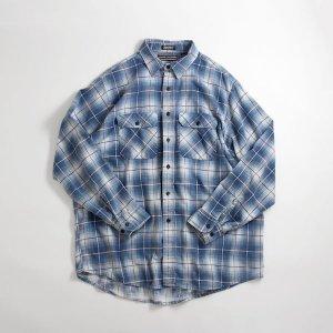 90's USA製 オンブレチェック ネルシャツ ブルー