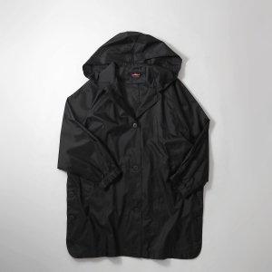[レディース] 1990's ナイロンハーフコート フード ブラック ラウンドカット ブラック