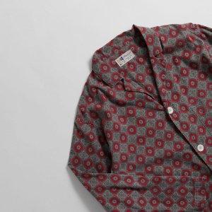 [レディース] 60's ヴィンテージ パジャマシャツ 紋柄 ダークレッドxグレー