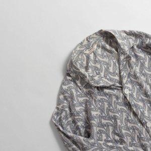 [レディース] 60's ヴィンテージ パジャマシャツ ペイズリー柄 ホワイトxブルー