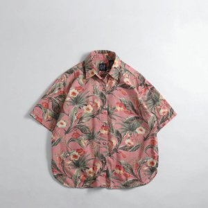 [レディース] 1990's  オールドGAP  花柄 ハワイアンシャツ  コットン ピンク アロハシャツ