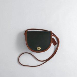 [レディース] 1990's USA製 オールドコーチ 2トーン ミニショルダーバッグ 半円 グリーンxブラウン [COACH]