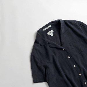 [レディース] シルク オープンカラーシャツ 半袖 ネイビー