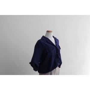 [レディース] シルク オープンカラーシャツ 長袖 ネイビー