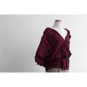 [レディース] 1990's ビッグサイズ オープンカラーシャツ 長袖 ダークレッド