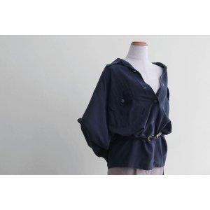 [レディース] 1990's ビッグサイズ オープンカラー シルクシャツ 長袖 ネイビー