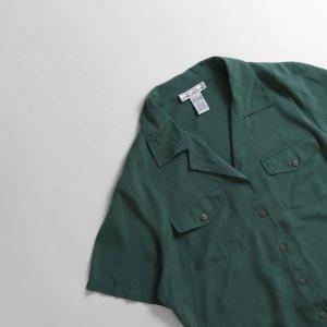 [レディース] ユーズド シルク オープンカラーシャツ グリーン