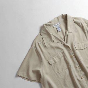 [レディース] ユーズド シルク ビッグサイズ オープンカラーシャツ ベージュ