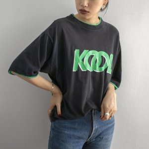 [レディース] 1990s USA製 KOOL ロゴTシャツ レイヤード風 ブラック