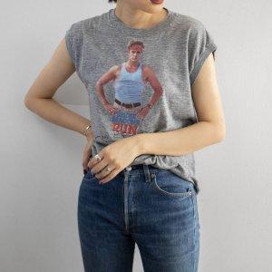 [レディース] 1980s ヴィンテージ USA製 EDDIE MACON'S RUN プリントノースリーブTシャツ 映画 ムービー 両面 グレー