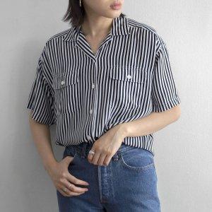 [レディース] 1980s ヴィンテージ ストライプ オープンカラーシャツ 半袖 ホワイト×ブラック