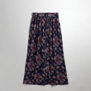 [レディース] 1980s~ ヴィンテージ 花柄 フレアスカート ネイビー 前開き