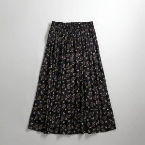 [レディース] 1990s ペイズリー柄 フレアスカート ブラック