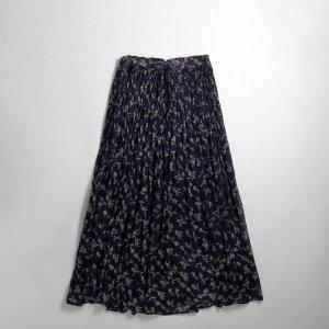 [レディース] ~1990s インド綿 花柄 フレアスカート ネイビー