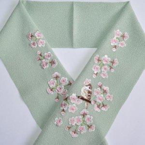 桜と雀 抹茶色