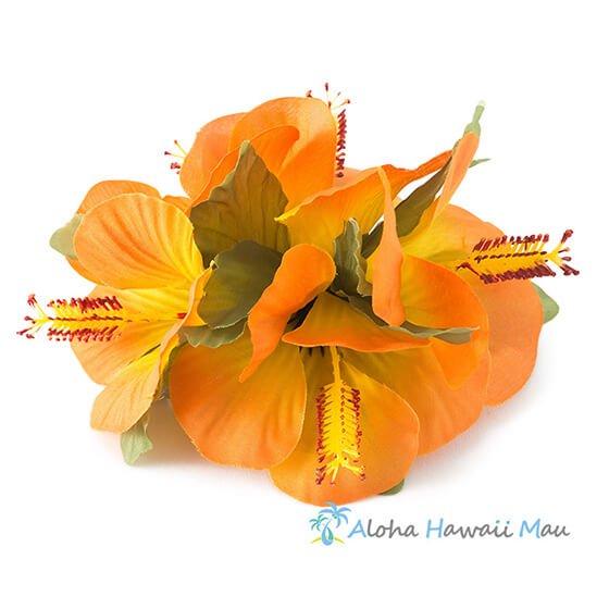 スモールハイビスカス5P髪飾りオレンジ