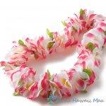 フラダンス レイ ハワイアンフラレイ フラワーレイ ピンク/ホワイト