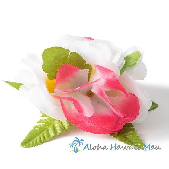 フラワー髪飾り ピンク/ホワイト