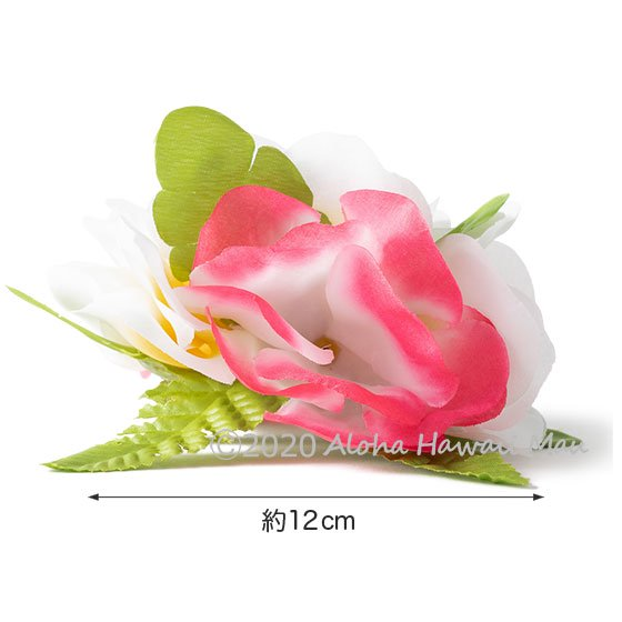 フラワーヘアクリップ  ピンク/ホワイト 大きさ