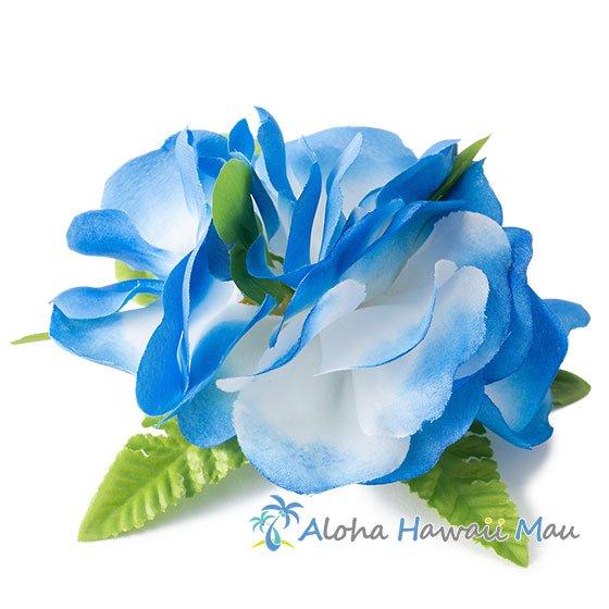 フラワー髪飾り ブルー/ホワイト