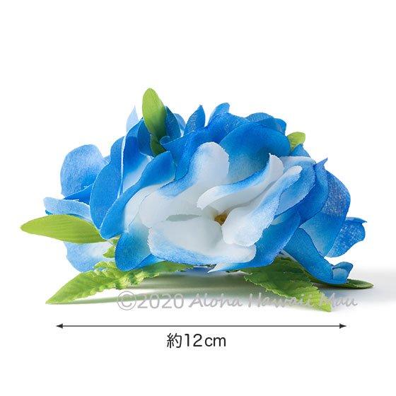 フラワーヘアクリップ  ブルー/ホワイト 大きさ