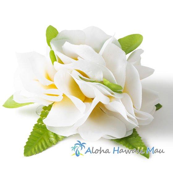 フラワー髪飾り ホワイト/イエロー(プルメリア)