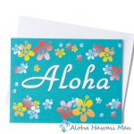 グリーティングカード Aloha Aqua アロハ アクア 封筒付き