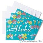 グリーティングカード Aloha Aqua アロハ アクア 3枚セット 封筒付き