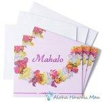 グリーティングカード Mahalo Purple Lei マハロ パープルレイ 3枚セット封筒付き