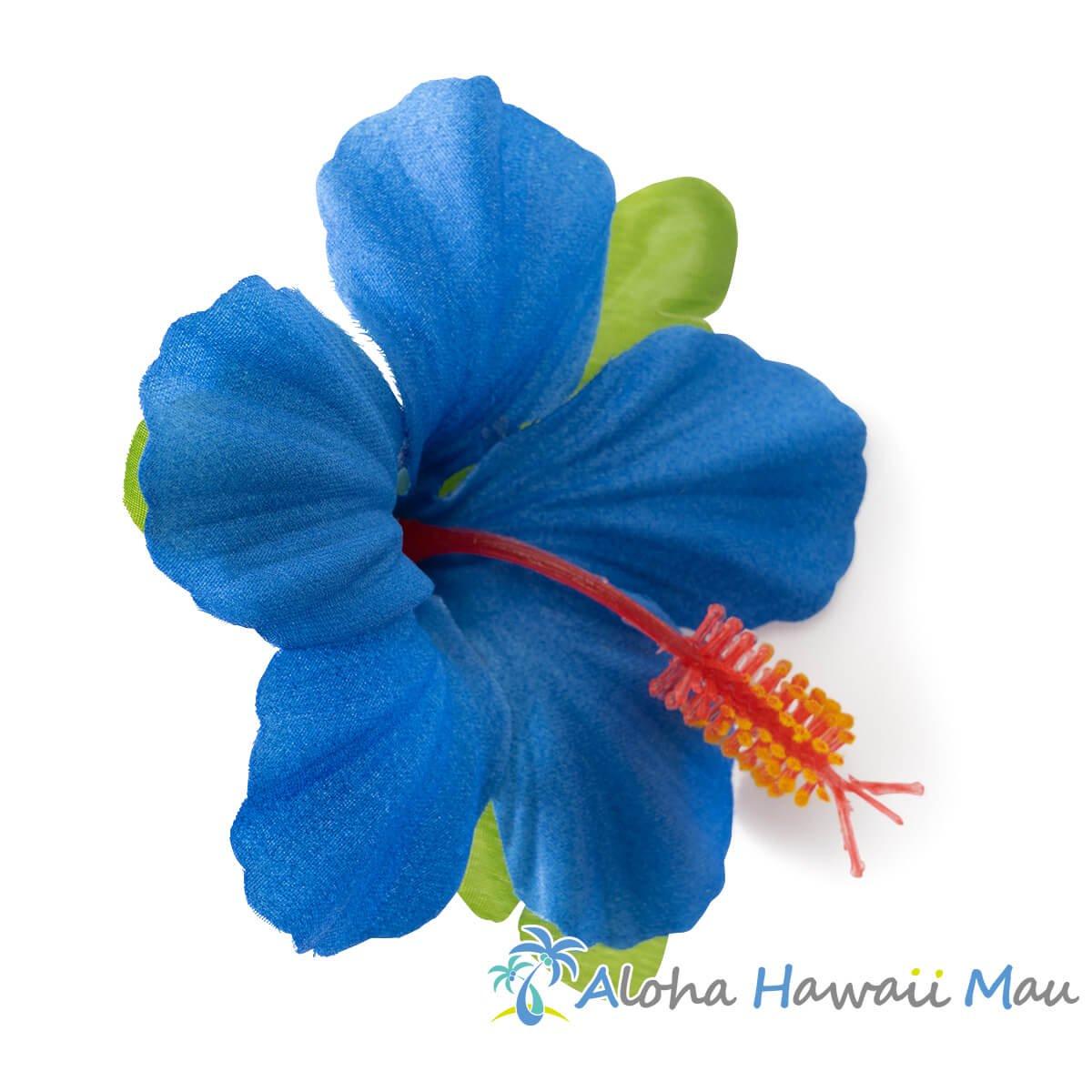 ハイビスカス髪飾り1P ブルー